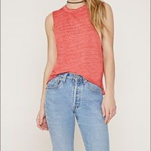 FOREVER 21 HEATHERED BURNOUT RED TANK TOP LARGE